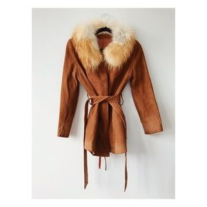 70s Fox Fur Belted Suede Jacket